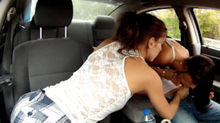 Double Blowjob In The Car