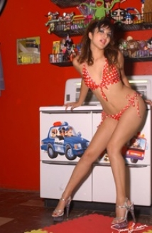 Red With White Polka Dot Bikini Toy Room Picture